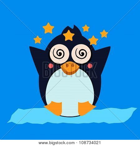 Penguin Feeling Dizzy. Vector Illustration