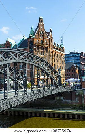 HAMBURG, GERMANY - MAY 6, 2014:Brooks Bridge at the speicherstadt in hamburg