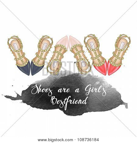 hand drawn Fashion Illustration heels with metallic studs - background - raster illustration