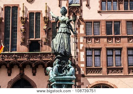 famous statue of  Justitia in Frankfurt on public place