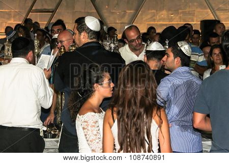 Unidentified Jewish Man Praying On Ceremony Of Simhath Torah . Tel Aviv.