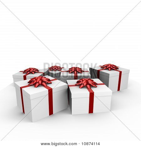 Many gifts with red ribbon - 3d image