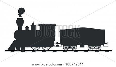 Old vintage retro transportation train vector black and white silhouette. Old train vector illustration on white background. Train silhouette isolated. Old vintage retro train cargo vector travel