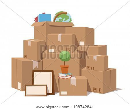 Move service box full vector illustration. Move box business. Craft box isolated on background. Box for moving, open box. Move business, moving box, relocation box. Transportation package cargo