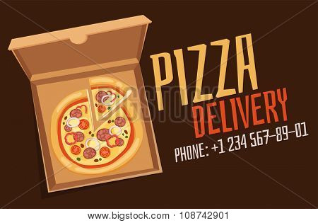 Pizza box vector advertisment babber. Pizza box delivery service. Craft pizza box isolated on background. Box for pizza, pizza delivary service. Pizza delivery business, food box, pizza box. Delivery