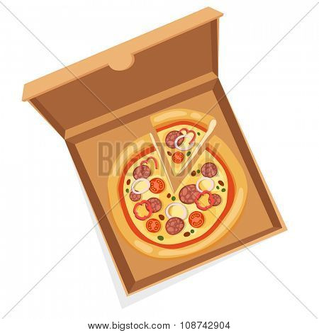 Pizza box vector illustration. Pizza box delivery service. Craft pizza box isolated on background. Box for pizza, pizza box. Pizza delivery business, food box, pizza box. Delivery pizza package