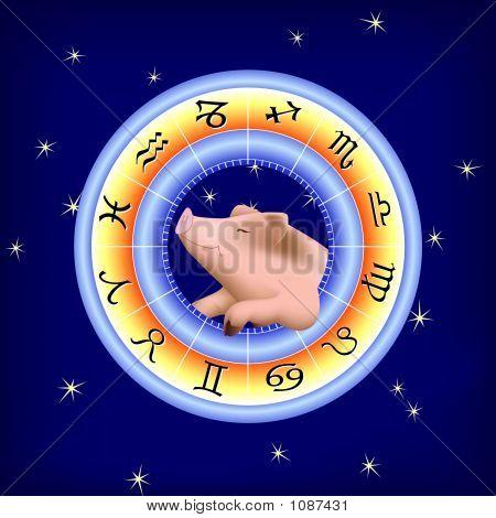 Pig In Zodiac Wheel