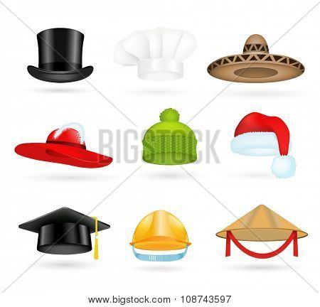 Set of 3d top hats different professions. Cartoon top hats. Baseball cap, cook hat, chef hat, santa hat. Hat icons vector set. Hats isolated silhouette. Autumn, winter hat, worker hat, graduation hat