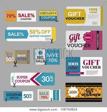 Vector illustration of gift voucher template collection.  Voucher tickets, voucher sale coupon, voucher gift, voucher vector, voucher isolated. Cutline voucher vector symbols. Voucher coupon icons