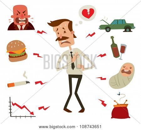 Mens heart problems. Businessman heart risk factors. Mens heart attack stress heart infarct. Heart attack vector illustration. Children, smoke, drinks and alcohol, fast harmful food, crisis business