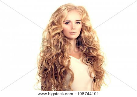 Model with long hair Blonde Waves Curls Hairstyle Hair Salon Updo Fashion model with shiny hair Woman with healthy hair girl with luxurious haircut Hair loss Girl with hair volume  poster