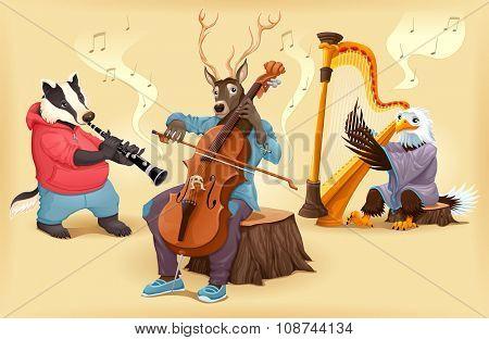 Musician cartoon animals. Vector illustration.