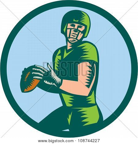 American Football Qb Throwing Circle Woodcut