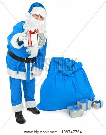 Blue Santa Gives A Present