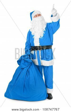 Blue Santa Pointing His Finger At An Object