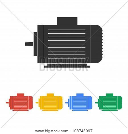 Electric motor icon Vector flat Illustration EPS poster