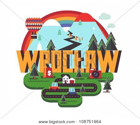 Wrocl?aw in poland is Beautiful city to visit on holiday, vector cartoon illustration