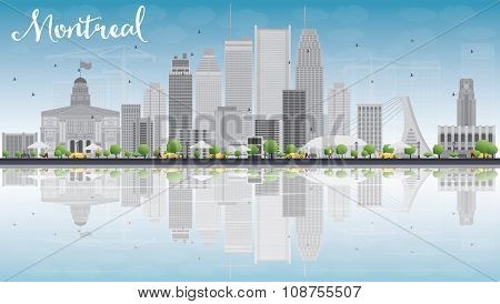 Montreal skyline with grey buildings, blue sky and reflection. Vector illustration. Business travel and tourism concept with place for text. Image for presentation, banner, placard and web site.