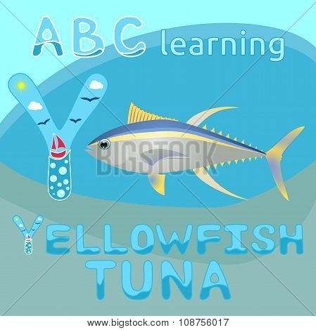 Y is for Yellowfish tuna vector illustration Yellow and blue striped sea animal realistic character