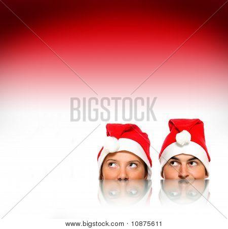 Santas Over Red Background