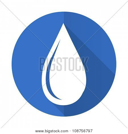 water drop blue web flat design icon on white background