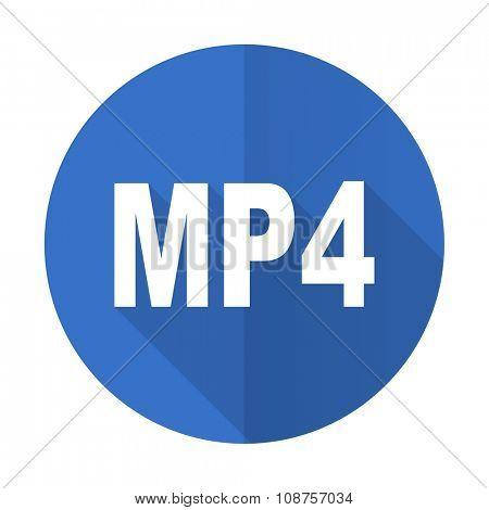 mp4 blue web flat design icon on white background