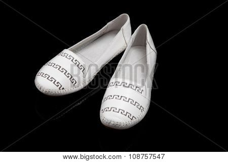 White women loafer isolated on black background