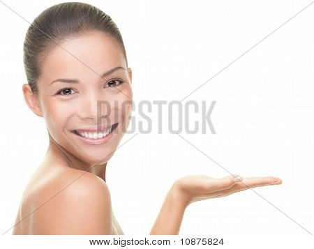 Beauty Care Treatment Woman Showing Copy Space