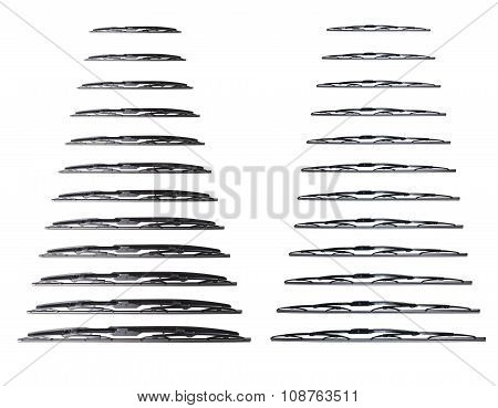 Many wiper blade on a white background