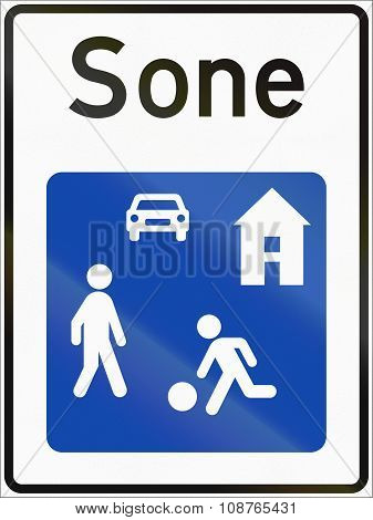 Norwegian Road Sign - Living Street. Sone Means Zone