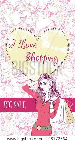 Vector decorative design card with surprised woman with shopping bags