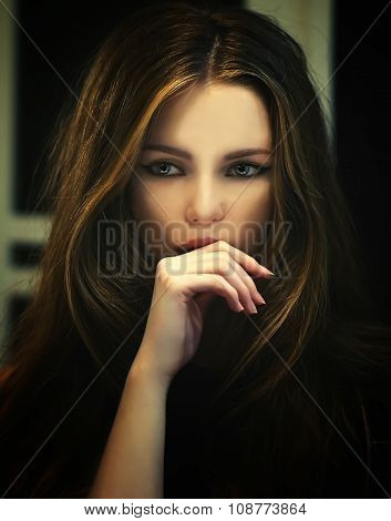 Girl model with mystery blue eyes