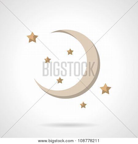 Flat color crescent vector icon