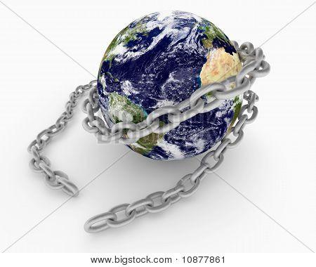 Metal Chain Wraped Around Earth Globe