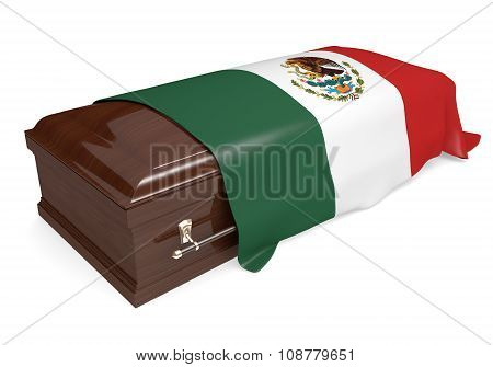 Coffin covered with the national flag of Mexico