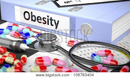 Illustration of doctor's desktop with different pills, capsules, stethoscope, syringe, light blue folder with label 'Obesity'