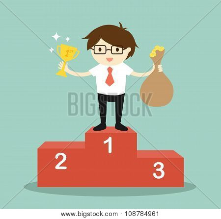 Business concept, businessman standing on the winning podium, he holding trophy and a bag of money.