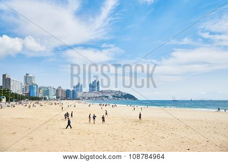 Busan, Korea - September 19, 2015: Landscape Of Haeundae Beach