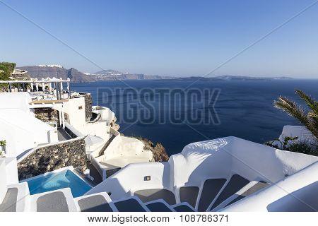 Winding Stairs Going Down To Aegan Sea, Santorini Island -greece