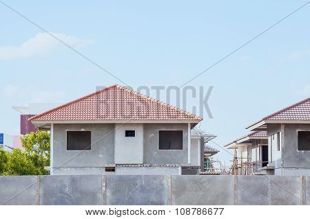 House Building And Construction Site Village In Progress, Waiting For Sale Concept