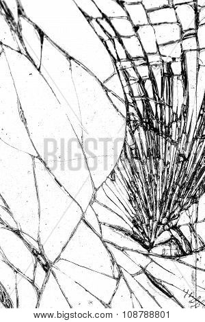 Broken glass texture cracked in the glass.