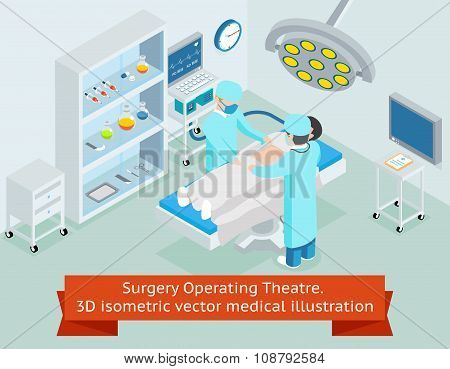 Surgery operating theatre. 3D isometric vector medical illustration