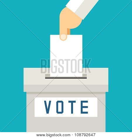 Hand putting voting paper in the ballot box. Voting concept flat style