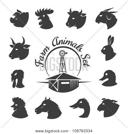 Farm animal meat icons