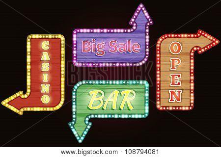Open, big sale, casino, bar retro neon signs vector set