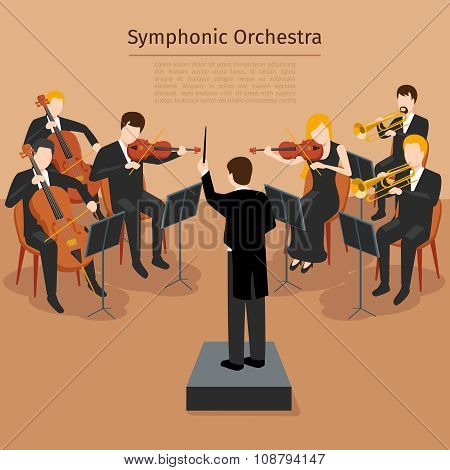 Symphonic orchestra vector illustration
