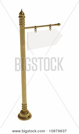 Blank Board, Golden Signpost, Isolated on White with Clipping Path