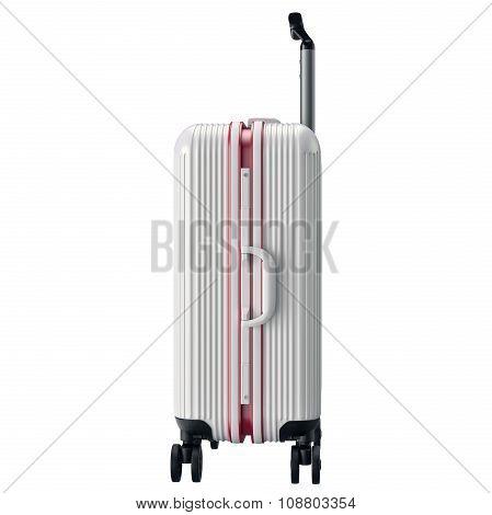 Metal luggage white, side view