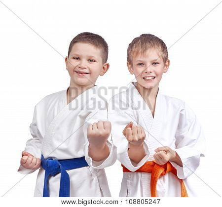 Two athletes doing karate technique