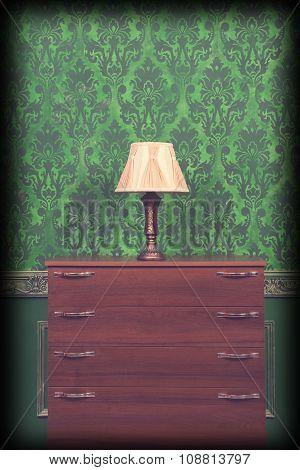 Lamp Holder In Green Vintage Interior With Vignette